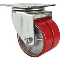 Strongway 6in. Swivel Heavy-Duty Dual-Wheel Caster — 2,200-Lb. Capacity, Polyurethane Wheels/Steel Core