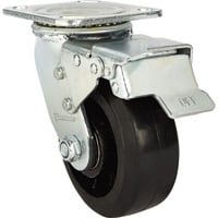 Strongway 5in. Heavy-Duty Swivel Rubber Caster with Brake — 600-Lb. Capacity