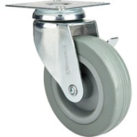 Strongway 4in. Swivel Nonmarking Rubber Caster with Brake — 175-Lb. Capacity