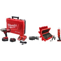 FREE SHIPPING — Milwaukee M18 FUEL 1/2in. Impact Wrench Kit — 700 Ft.-Lbs. Torque, With Friction Ring, LED Stick Light, Socket Set, Model# 2763–22NTE
