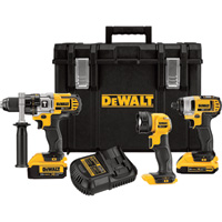 FREE SHIPPING — DEWALT 20V MAX Li-Ion Cordless 1/2in. Hammerdrill & 1/4in. Impact Driver Combo Kit — With LED Worklight and 2 Batteries, Model# DCKTS390DM2