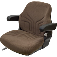 K&M Uni Pro Fabric Tractor Seat with Fold-Up Armrests — Brown, Model# 8312