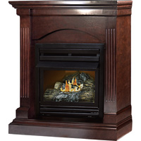 Pleasant Hearth Dual Fuel Vent-Free Fireplace — 20,000 BTU, Tobacco Finish, Model# VFF-PHCPD-2T