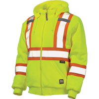 Work King Men's Class 2 High Visibility Quilt-Lined Hooded Sweatshirt with 3M Scotchlite Material — Lime
