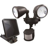 Maxsa Solar-Powered Motion-Activated Dual Head LED Security Spotlight — 160 Lumens, Bronze, Model# 44216
