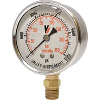 Valley Instrument Grade A Stem Mount 2 1/2in. Glycerin Filled Gauge — 0-5000 PSI