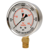 Valley Instrument Grade A Stem Mount 2 1/2in. Glycerin Filled Gauge — 0-6000 PSI