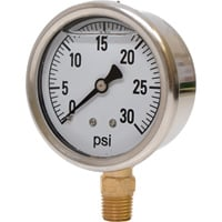 Valley Instrument 2 1/2in. Stainless Steel Glycerin Gauge — 0-30 PSI