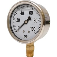 Valley Instrument 2 1/2in. Stainless Steel Glycerin Gauge — 0-100 PSI