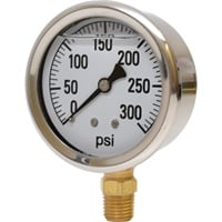 Valley Instrument 2 1/2in. Stainless Steel Glycerin Gauge — 0-300 PSI