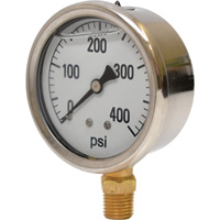 Valley Instrument 2 1/2in. Stainless Steel Glycerin Gauge — 0-400 PSI