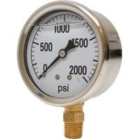 Valley Instrument 2 1/2in. Stainless Steel Glycerin Gauge — 0-2000 PSI