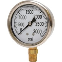 Valley Instrument 2 1/2in. Stainless Steel Glycerin Gauge — 0-3000 PSI