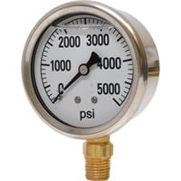 Valley Instrument 2 1/2in. Stainless Steel Glycerin Gauge — 0-5000 PSI