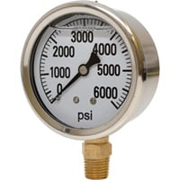 Valley Instrument 2 1/2in. Stainless Steel Glycerin Gauge — 0-6000 PSI