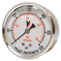 Valley Instrument Grade A Back Mount 2 1/2in. Glycerin Filled Gauge — 0-600 PSI