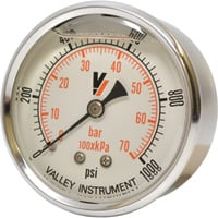 Valley Instrument Grade A Back Mount 2 1/2in. Glycerin Filled Gauge — 0-1000 PSI