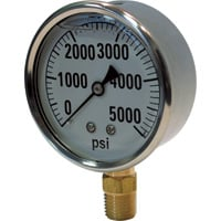 Valley Instrument Hydraulic Pressure Gauge — Liquid Filled, 5000 PSI