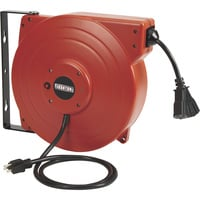 Ironton Retractable Cord Reel with Triple Tap — 65ft., 12/3 SJT, 15 Amps