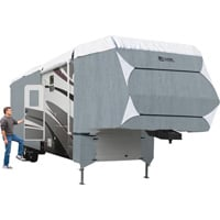 Classic Accessories Overdrive PolyPRO 3 Deluxe 5th Wheel Cover — Gray and White, Fits 33ft.L–37ft.L x 135in.H 5th Wheel Trailers, Model# 80-349-183101-RT