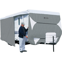 Classic Accessories OverDrive PolyPRO 3 Deluxe Travel Trailer Cover — Gray and White, Fits 15ft.L–18ft.L x 114in.H Travel Trailers, Model# 80-351-303101-RT