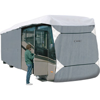 Classic Accessories OverDrive PolyPro 3 Deluxe Class A Extra Tall RV Cover — Gray and White, Fits 30ft.L-33ft.L x 140in.H RVs, Model# 77563