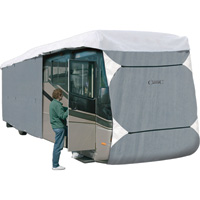 Classic Accessories OverDrive PolyPro 3 Deluxe Class A Extra Tall RV Cover — Gray and White, Fits 33ft.L-37ft.L x 140in.H RVs, Model# 77663