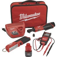 FREE SHIPPING — Milwaukee M12 Cordless Automotive Ratchet Kit  — 3/8in. Ratchet, LED Light Stick, Auto Voltage/Continuity Tester, Model# 2457-21NTE