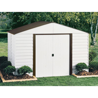 Arrow Parkview Steel Shed — 12ft.L x 10ft.W, 729 Cu. Ft., Eggshell/Coffee, Model# PM1012