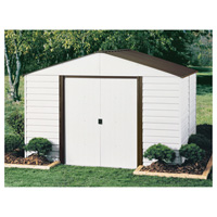 Arrow Parkview Steel Shed — 8ft.L x 10ft.W, 467 Cu. Ft., Eggshell/Coffee, Model# PM108