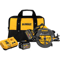 FREE SHIPPING — DEWALT FLEXVOLT 60 Volt MAX Brushless 7 1/4in. Circular Saw with Brake — Two FLEXVOLT Batteries, Model# DCS575T2