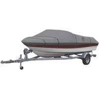 Classic Accessories Lunex RS-1 Trailerable Boat Cover — Fits 20ft.–22ft. V-Hull Runabouts, Outboards and I/O (Beam Width up to 106in.), Gray, Model# 20-235-121001-00