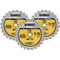 FREE SHIPPING — DEWALT FLEXVOLT Circular Saw Blade — 3-Pk., 7 1/4in. Dia., 24 Tooth, Fast Cut Framing, For Wood, Model# DWAFV37243