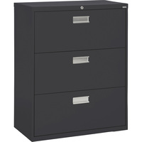 Sandusky Lee 600 Series 3-Drawer Lateral File Cabinet — Black, 36in.W x 19 1/4in.D x 40 7/8in.H., Model# LF6A363-09