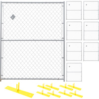 Jewett-Cameron 8-Panel Chain Link Perimeter Patrol™ Kit — Temporary Fencing Panels, Each 5ft. x 6ft., Model# RF 1010 CL