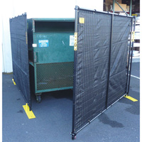 Jewett-Cameron Perimeter Patrol 5-Panel, 4-Sided Dumpster Enclosure with Gate — Black, Model# RF4-14DB