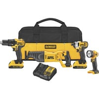 FREE SHIPPING — DEWALT 20V MAX Lithium-Ion Cordless Combo Kit — 4-Tool, 2 Batteries, Model# DCK420D2