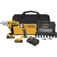 FREE SHIPPING — DEWALT 20 Volt MAX Cordless Li-Ion 1/2in. Impact Wrench/LED Worklight/Socket Kit — 2 Batteries, Model# DCK289M2