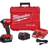 FREE SHIPPING — Milwaukee M18 FUEL Cordless Impact Driver Kit — With 2 XC5.0 Batteries, 1/4in. Hex, 2000 In.-Lbs. Torque, Model# 2853-22
