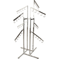 Econoco Height Adjustable 8-Arm, 2-Tier Handbag Displayer — Chrome Finish, 18in.L Slant Arms, 48in.–72in.H, Model# K16
