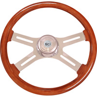 Steering Creations Inc. Classic Mahogany Steering Wheel — 18in. Dia., Mahogany Rim, Chrome-Plated Steel 4-Spoke