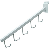 Econoco 5-Hook Square Hook Tubing Waterfall Faceout for Slatwall — White, 17in.L, Model# EWH/5H