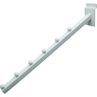 Econoco 6-Ball Square Tubing Waterfall Faceout for Slatwall — White, 16in.L, Model# EWH/6B