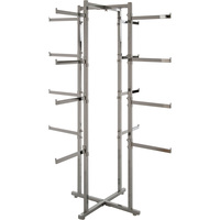 Econoco X-Style Folding Lingerie Tower with 16 Tubular Arms — Chrome, 61in.H, Model# K36