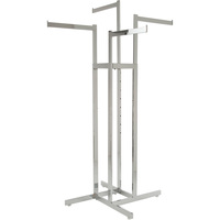 Econoco Adjustable 4-Way Rack with Straight Arms — Chrome, 48in.–72in.H, Model# K85