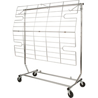 Econoco Display Screen and Shelf for Collapsible Rolling Racks — Chrome, 50in.L x 38in.H, Model# RCA/5