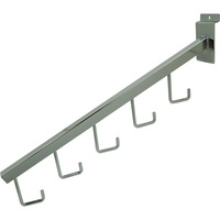 Econoco 5-Hook Square Tubing Waterfall Faceout for Slatwall — Chrome, 16in.L, Model# SW/5H