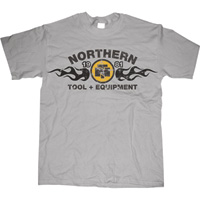 Short Sleeve Northern Tool Flame T-Shirt — Gray, 2XL