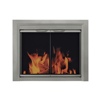 Pleasant Hearth Colby Fireplace Glass Door — For Masonry Fireplaces, Small, Sunlight Nickel, Model CB-3300