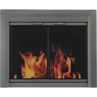 Pleasant Hearth Craton Fireplace Glass Door — For Masonry Fireplaces, Large, Gunmetal, Model CR-3402